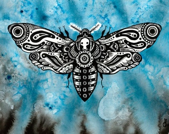 "8x10 Print ""Time will not be ours for ever."" Death's Head Hawk Moth Intuitive Artwork - Blue Watercolor and Ink Art"