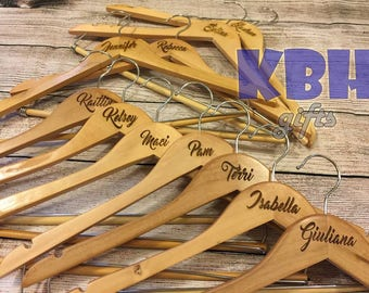 Laser Engraved Bridal Party Hangers / Bridesmaid Gift