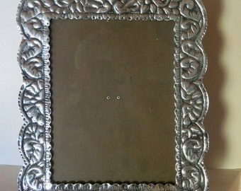Vintage Embossed Polished Pewter 9 x 11.5 Picture Frame - Mexico - New Old Stock