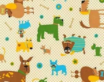 "Fat Quarter (18""x22"") Only of Whiskers & Tails Natural Dogs from Robert Kaufman"