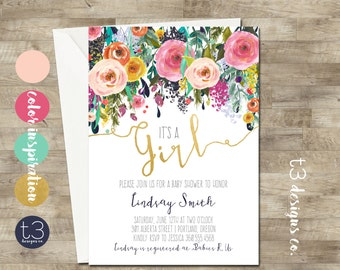 Whimsical Girl Baby Shower Invitation, girl baby shower invite, baby shower, floral baby shower, watercolor baby shower invitation, gold, T3