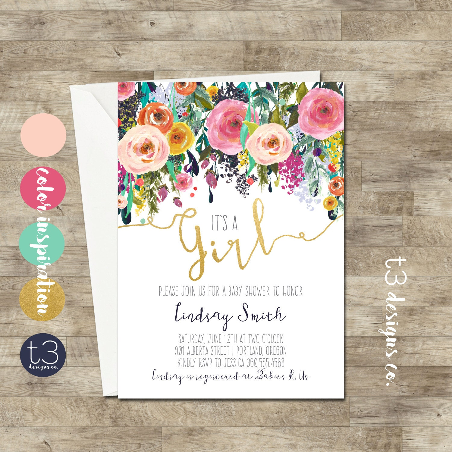 Whimsical Girl Baby Shower Invitation, girl baby shower invite, baby ...