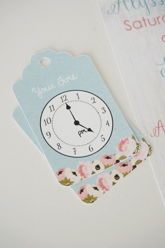 24 Clock Tags Floral Around The Clock Shower