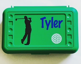 Personalized Pencil Box, Golf, Golf Pencil Box, Back to School, School Supplies, Pencil Case, Pencil Box, Golfer, Golfer Pencil Box,