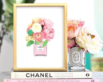 Glam decor, PRINTABLE wall art, Chanel print, Fashion print, Watercolor art, Pink flower print, Flower art, Large wall art, Pink wall art