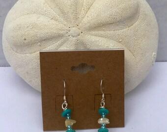 Silver Blue & Yellow Earrings