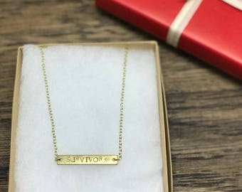 Survivor Necklace | Gold Bar Necklace, Survivor Charm Necklace, Gold Chain Necklace, Gold Survivor Necklace, Survivor Jewelry Necklace