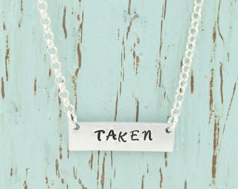 Taken Necklace, Bar Necklace, Hand Stamped Jewelry