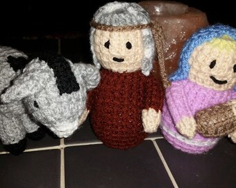 Hand knitted Nativity figures