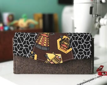 Necessary Clutch Wallet in Doctor Who Brown Daleks   Wallet   Clutch   Purse