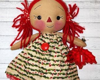 TREE TOPPER Christmas Annie - Primitive Raggedy Ann Doll