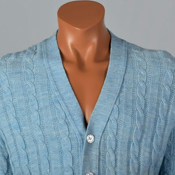 Sweater Knit Cable V Menswear Jantzen Separates Sleeves Knit Large Blue Neck 60s Front Button Long 1960s Vintage Baby Cardigan Mens YXwOAg
