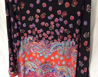 Vintage Carole Little floral artsy top tunic size large