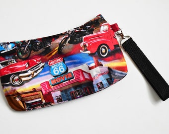 Classic Cars Essentials Wristlet - Route 66 Wristlet - Vintage Cars Wristlet - Pinup Wristlet - Teen Gift - Travel Bag - Stocking Stuffer