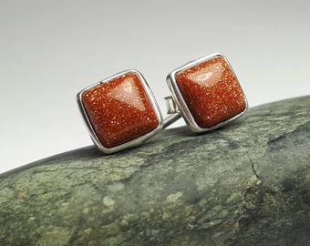 Sunstone stud earrings; 92.5 sterling silver