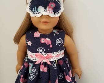 American Girl Doll Nightgown and  Optional Sleep Mask. Ready to Ship!