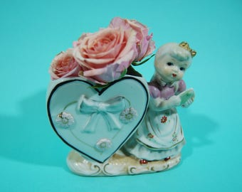 Vintage Shafford girl with heart planter