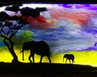 "Light box ""elephant journey"""