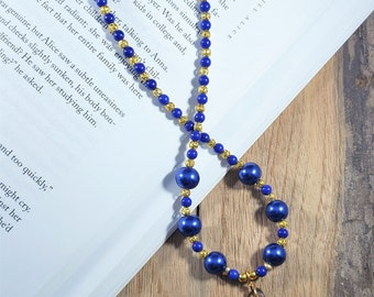 Blue and Gold Beaded Tear Drop Pendant Necklace