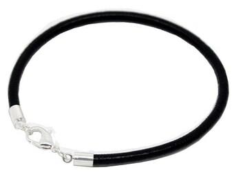 "Leather Bracelet,Black Charm Bracelet, black Leather, Jewelry Bracelet for Charms Women's Bracelet Charm Bracelet,20cm,7.8"""