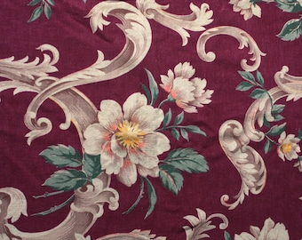 Vintage 1940s Curtain // 40s Barkcloth Curtain Panel with Burgundy Baroque Victorian Floral Print