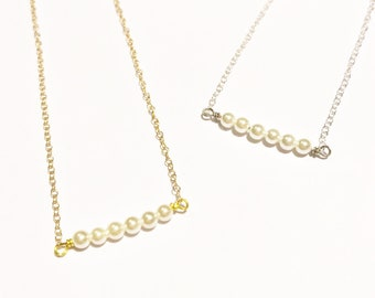 Pearl Bar Necklace - Gold or Silver - June Birthstone - 18""