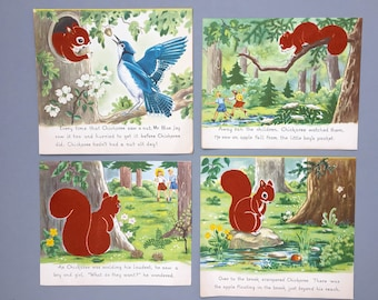 Vintage Nursery Wall Art Prints Squirrel Room Decor Woodland Bedroom Decor Children's Room Art Prints Vintage Children's Book Wall Art Set