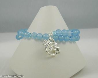 Scorpio Horoscope Bracelet with Aquamarine Beads | Zodiac Jewelry Charm Bracelet | Personalized Jewelry Wrap Bracelet