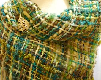 Hand Woven Shawl, Handwoven Wrap, Teal Shawl, Turquoise Shawl, Triangle Shawl, Hand woven Wrap, Handwoven Shawl, Blind Sparrow LLC