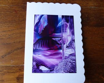 Original Encaustic Painting greeting card here or there 59 icy