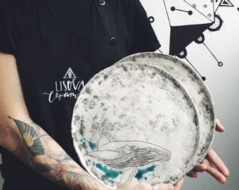 Ceramic plate  The Whale ,handmade pottery (make after order)