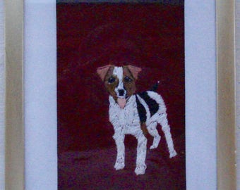 Jack Russell Dog Portrait, Hand Embroidered