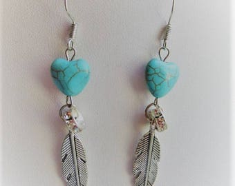 DANGLE EARRINGS with turquoise heart and silver feather style Native American gift for woman