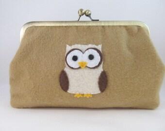 Owl Clutch Purse-Purse-Handbag-Kisslock-8 inch-Tan clutch