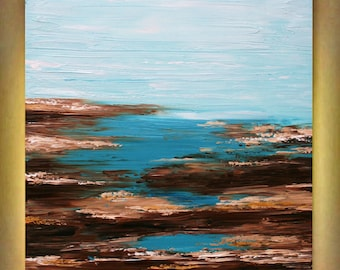 Original Abstract  Seascape Aqua    Heavy Impasto  Palette Knife  Modern Art  Painting . Made2Order.