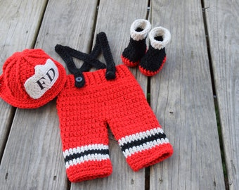 Crochet Firefighter Fireman Hat Outfit, 4 pc Firefighter outfit w/Boots, Newborn Photo Prop - Made To Order