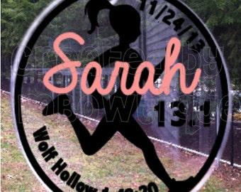 Marathon Runner Ornament. Available for Full (26.2) and Half (13.1) Marathons. Great gift idea