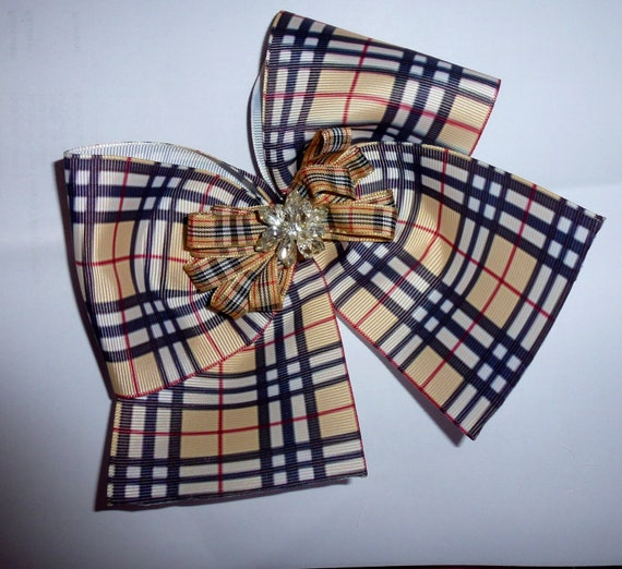 Becky Bows ~  Barrette ribbon Hand crafted oversized  BIG hair bow Women or Girls TAN berry PLAID - cheerleader style rhinestone crystal