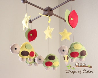 Baby Crib Mobile, Baby Mobile, Turtle Mobile, Nursery Forest, Pond Mobile. Turtles, Stars and Leaves (You can pick your colors)