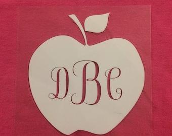 Teacher apple monogram decal