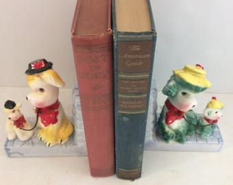 dog bookends ceramic 1950s  poodle decor poodle bookends