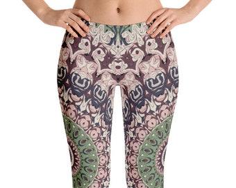 Boho Festival Mandala Yoga Pants, Unique Burning Man Clothing Women, Hooping Clothes, Dance Leggings