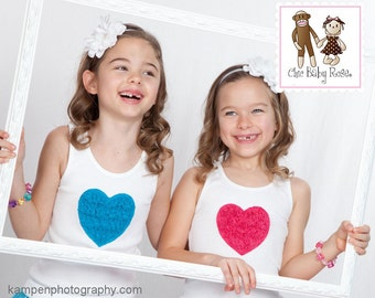 Lace Ruffle Heart Tee Tank or Long Sleeve by Chic Baby Rose