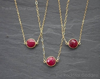 SALE / Ruby Necklace / Gold Ruby Necklace / Gold Ruby Pendant / Ruby Jewelry / Ruby Jewelry / Mother's Day Gift / Gift for Mom