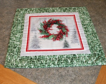 Green Trees Red Berry Wreath Christmas 15 1/2 X 15 1/2   Table Runner Topper