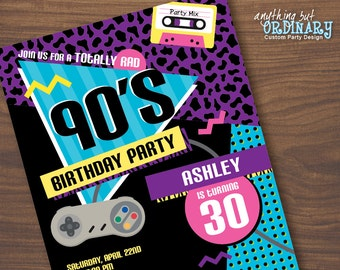 S Party Invitation Etsy - 90s party invitation template