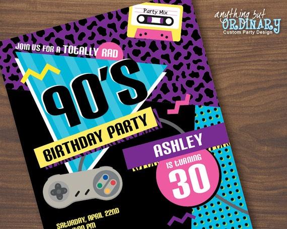 S Birthday Party Invitation S Flashback Party Invites - 90s birthday invitation templates