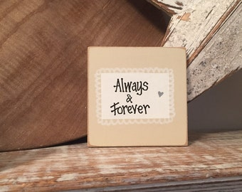 Handpainted 'Always & Forever' Shabby Chic Sign/Plaque - Wedding Photo Prop, wedding gift