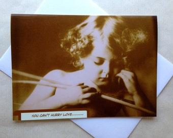 Vintage Cupid Valentine Card - Sweet Valentine - Romantic Photo Valentine - Vintage Photo Valentine - Cupid Asleep Valentine