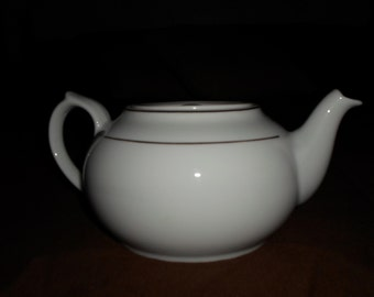 Vintage White & Gold Flat Top Teapot
